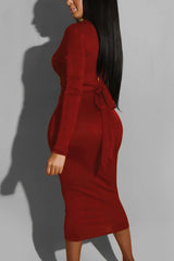 Solid Color Long Sleeve Tie Back Dress