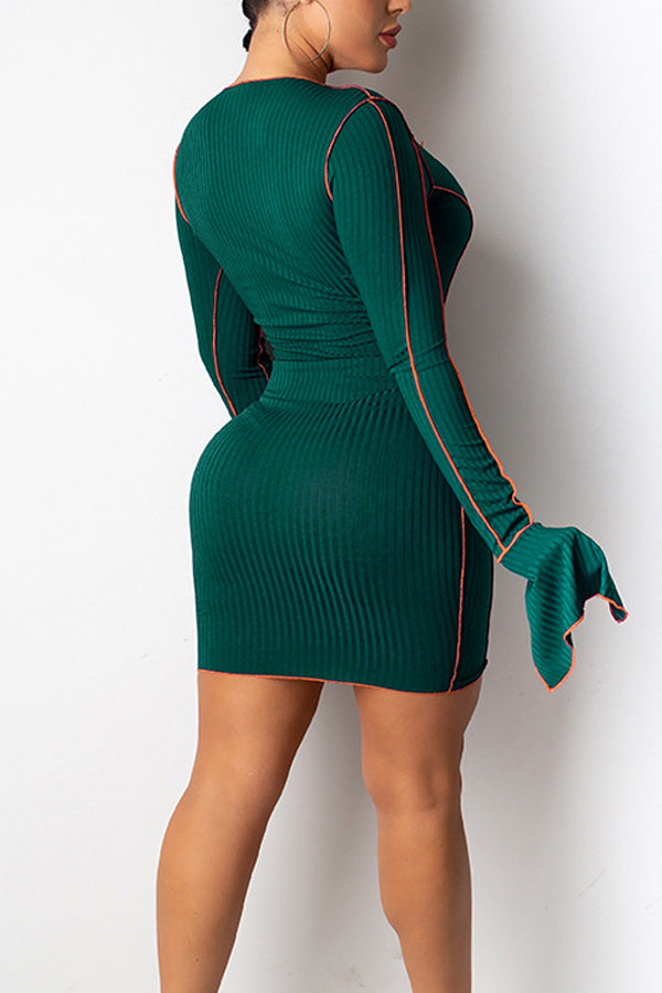 Sexy Bind Knitted Pit Strip Long Sleeve Dress