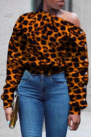 Sexy Leopard Stripe Oblique Shoulder Long Sleeve Top