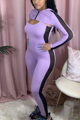 Solid Color Pit Stripes Long Sleeve Two-piece Set