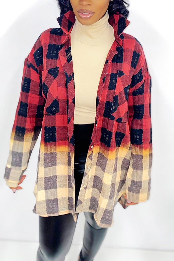 Plaid Print Color Block Long Sleeve Casual Tops