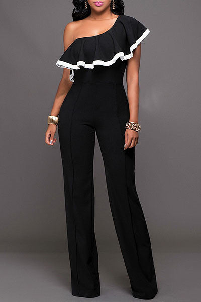 Modishshe Black One Shoulder Jumpsuits