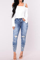 Modishshe Sexy Knee Ripped Skinny Denim Jeans