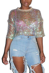 Mid Sleeve Round Neck Sequin Tops