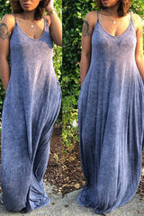 Modishshe V Neck Sleeveless Maxi Dress