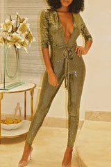 Modishshe Sequin Deep V neck Jumpsuits