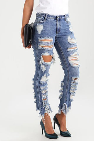 Modishshe Casual Stretchy Ripped Denim Jeans