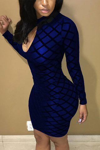 Modishshe Long Sleeved Bodycon Sexy Club Dress
