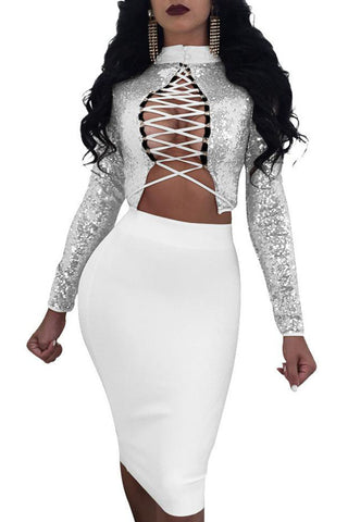 Modishshe Criss Cross Front Sequined Two-piece Dress