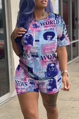 4 Color Fashion Newspaper Print Two-piece Set
