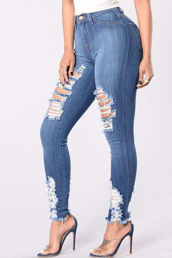 Modishshe Casual Stretchy Ripped Skinny Denim Jeans