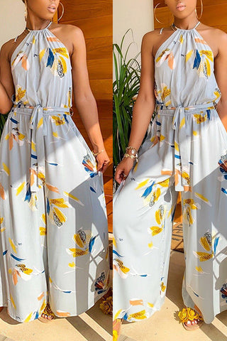 Modishshe Flower Print O Neck With Belt Jumpsuits