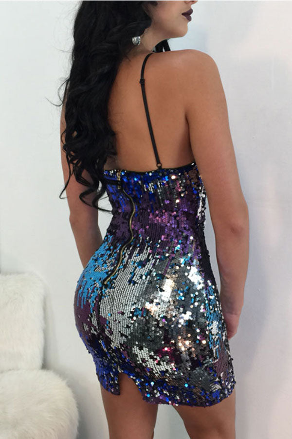 Modishshe Sexy Sequined Short Prom Dress