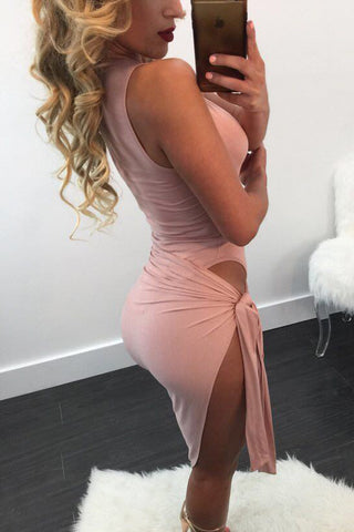 Solid Color Knot Slide Cutout Sexy Dress