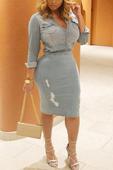 Modishshe Stylish Long Sleeved Denim Dress