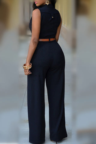 Modishshe Black Button Up Jumpsuits