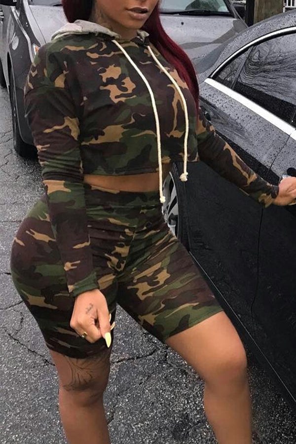 Modishshe Long Sleeve Camouflage  Causal Two-piece Set