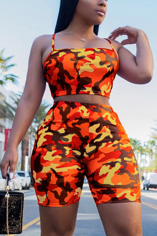 Camouflage Pattern Shorts Two Pieces Set