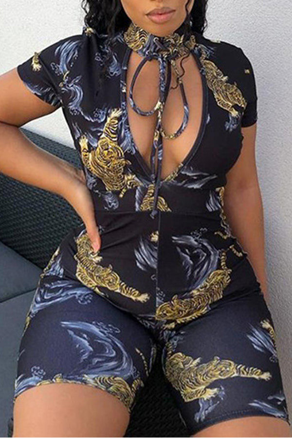 Sexy Short Sleeve Round Neck Print Jumpsuits