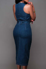 Modishshe Stylish Slit Front Denim Dress
