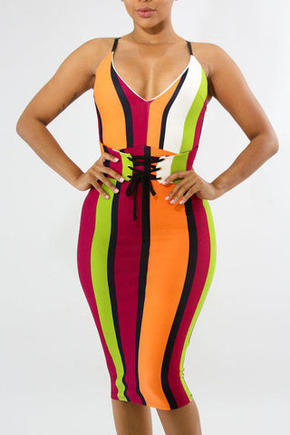 Modishshe Deep V Neck High Waist Dress