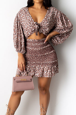 Sexy Long Sleeve Print Two-piece Set