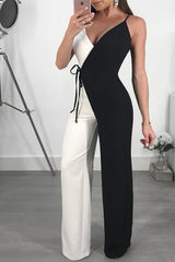 Modishshe Loose Splicing Color Blocking Jumpsuits