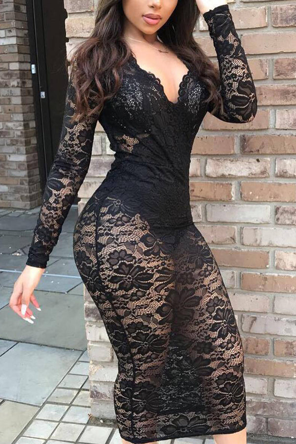 Sexy Lace V Neck Long Sleeve Dress