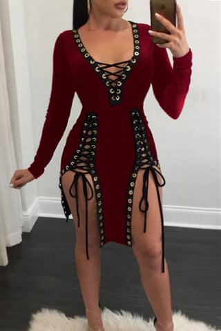 Modishshe Long Sleeve Short Bandage Dress
