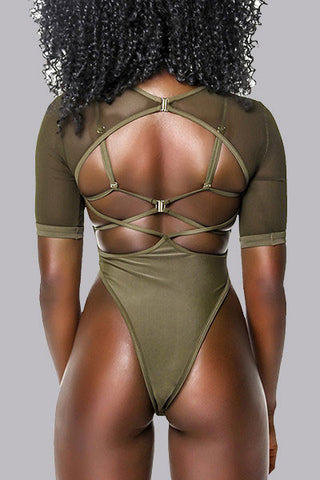 Modishshe Sheer Mesh Half Sleeved One-piece Swimwear