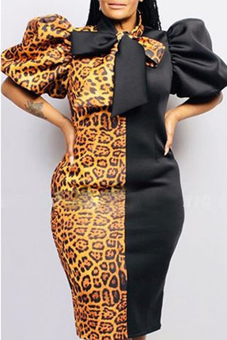 Colorblock Leopard Print Plus Size Bubble Sleeves Dress