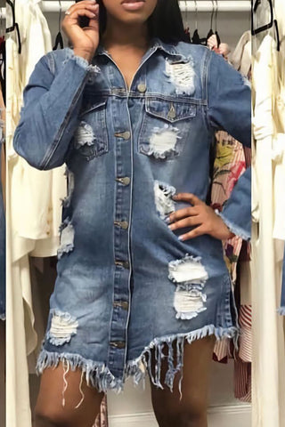 Modishshe Long Sleeves Ripped Denim Jacket
