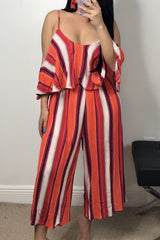 Stripe Ruffle Design Sleeveless Jumpsuit