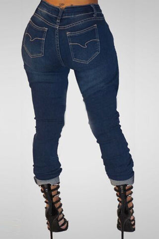 Modishshe Stylish Women Ripped Pencil Jeans