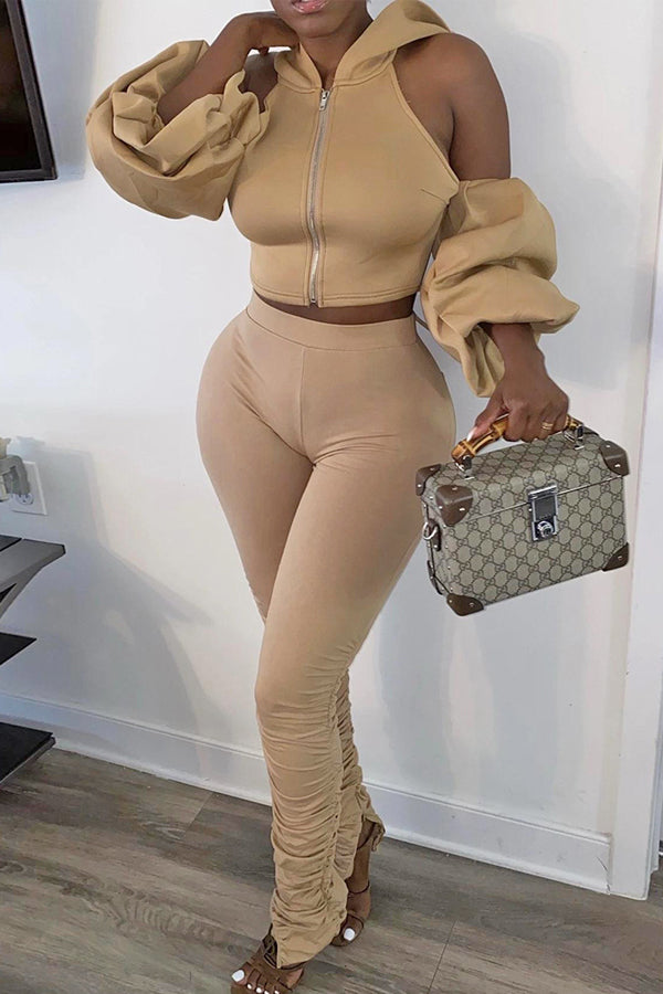 Solid Color Hooded Backless Two-piece Set