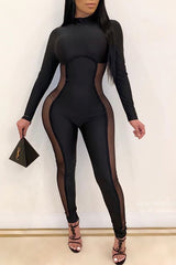 Solid Color Slim High Waisted Jumpsuit