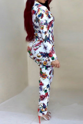 Modishshe Printing Long Sleeved Two Pieces Outfit Set