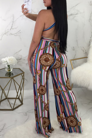 Modishshe Sexy High Neck Printing Jumpsuits