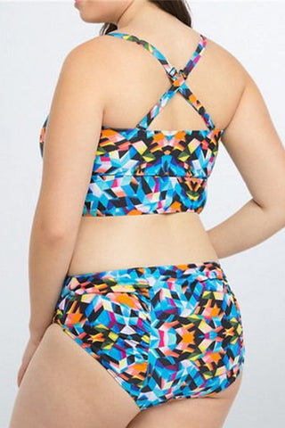 Modishshe Plus Size High Waist Floral Print Swimsuit