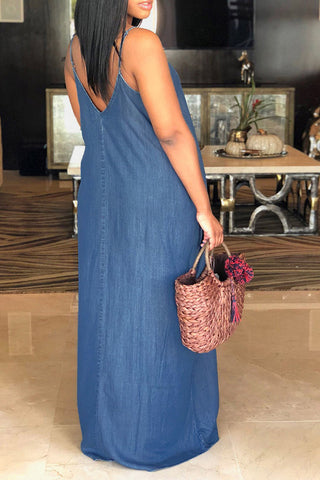 Modishshe Fashion V Neck Blue Denim Maxi Dress