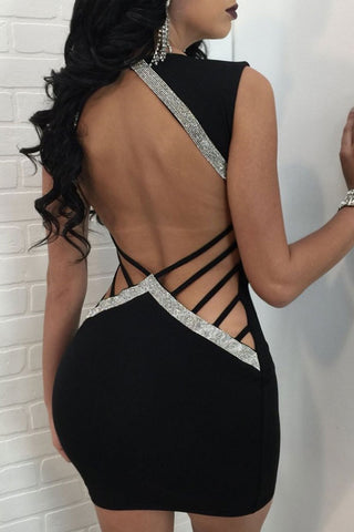 Modishshe Sexy Sleeveless Bodycon Prom Dress