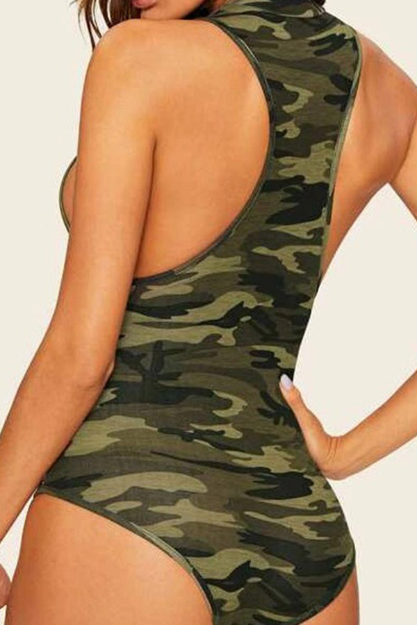 Sexy Leaky Back Tight Camouflage Vest Jumpsuit