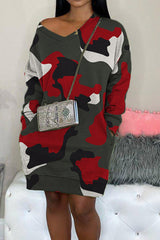 Lovely Camouflage Double Pocket Loose Dress