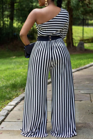 One shoulder Stripe Print Plus Size Jumpsuit