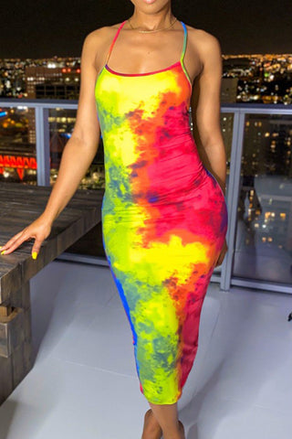 Colorful Tie-dye Backless Sleeveless Dress