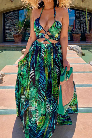 Fashion Digital Print Halter Neck Maxi Dress