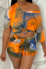 Tie-dye Print Short Sleeve Two-piece Set