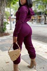 Solid Color Hooded Long Sleeve Two-piece Set