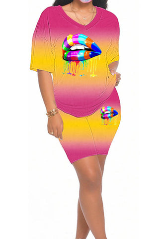 Short Sleeve Gradient Lips Print Two-piece Set