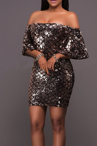 Modishshe Ruffle Overlay Sequin Dress